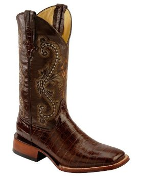 Ковбойские сапоги Ferrini Chocolate Alligator Belly Print Cowboy Boots - Square Toe