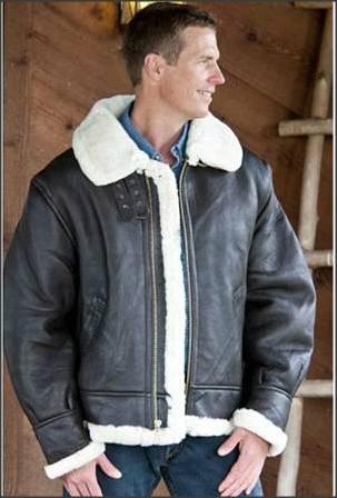 Меховая кожаная куртка лётчика Sheepskin B-3 Bomber Jacket - Snap 2012-03- 6f5c01cce06