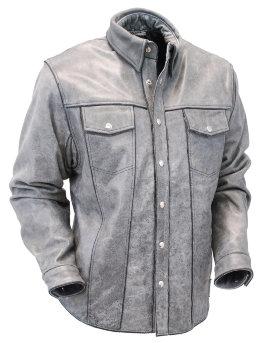 Мужская серая кожаная рубашка из толстой буйволиной кожи