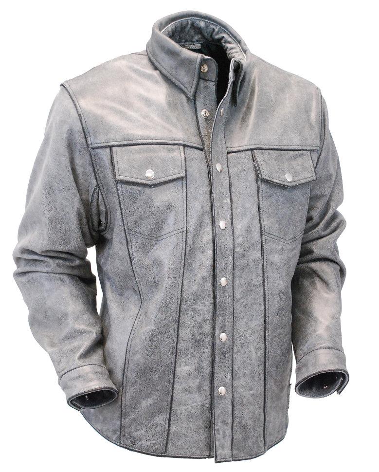 eb37fa6e65852ea Мужская серая кожаная рубашка из толстой буйволиной кожи