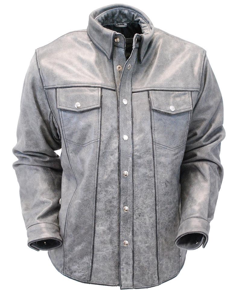108f44d0e76 Мужская серая кожаная рубашка из толстой буйволиной кожи