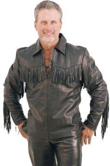 Мужской пуловер из премиальной буйволиной кожи, с бахромой