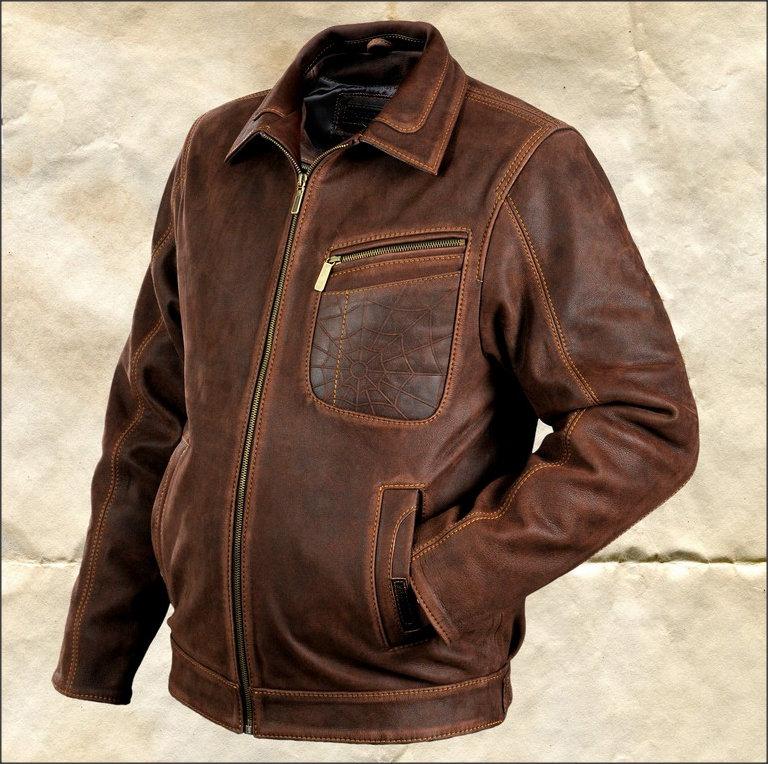 Кожаные мужские куртки. Короткая мужская куртка из толстой буйволиной кожи. На молнии