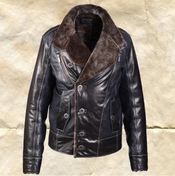 Кожаная зимняя мужская куртка на меху Splinter Zima