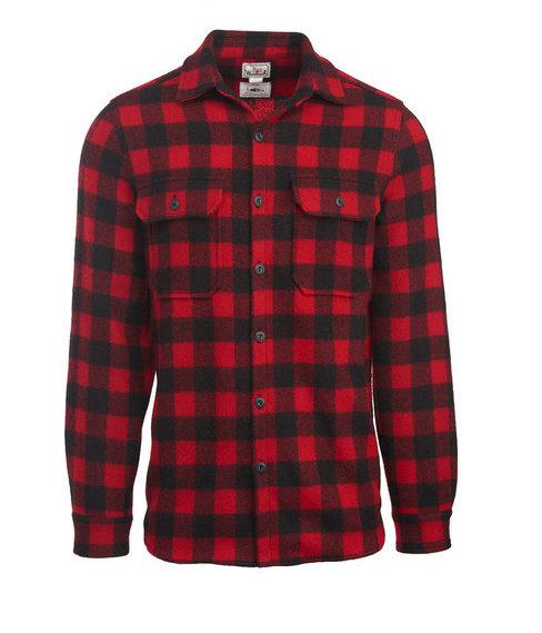 5f534210f2a0488 Мужская фланелевая рубашка из меха американского бизона, в красно-чёрную  клетку